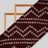 Brown Bandhani Pattern Digital Print Premium Organza Fabric