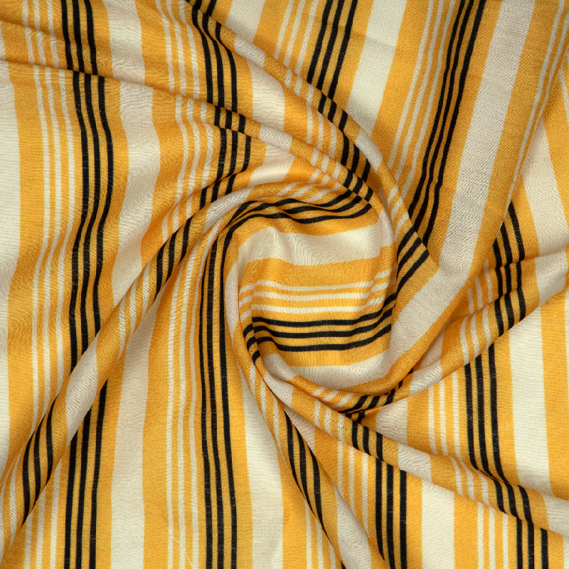 Yellow Stripes Digital Print Muslin Fabric