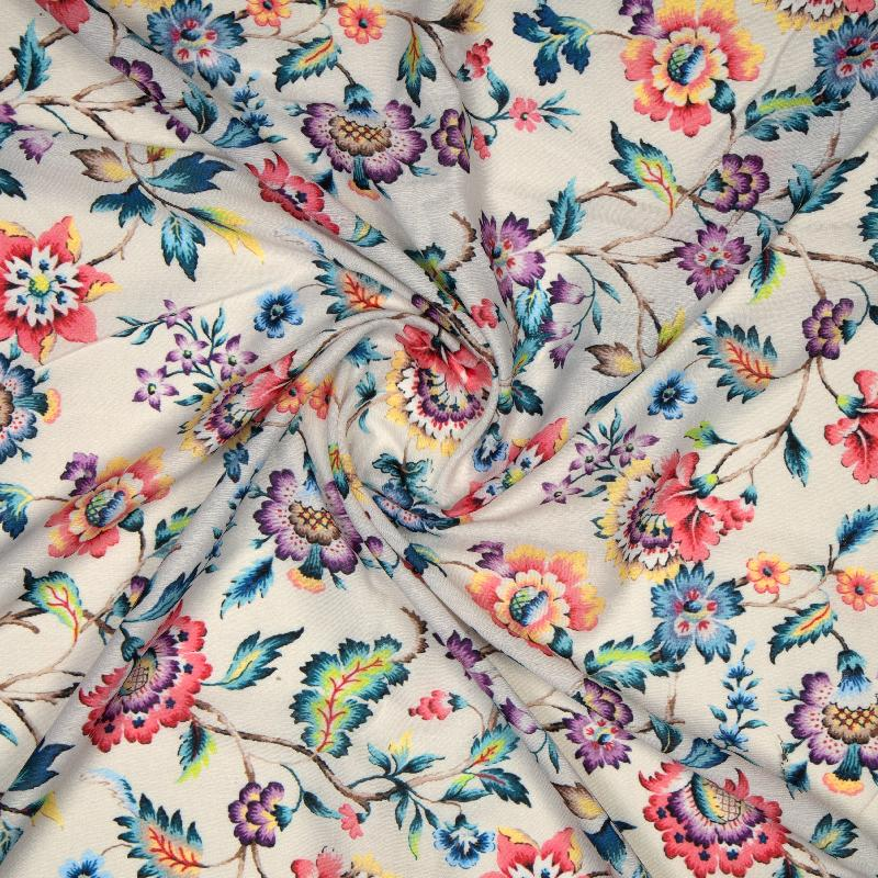 Cream Floral Digital Print Muslin Fabric