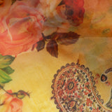 Yellow And Orange Paisely Digital Print Premium Organza Fabric - Fabcurate