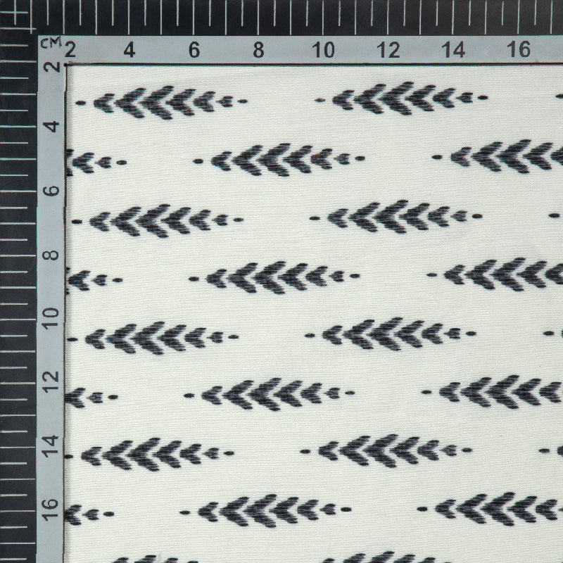 White Ethnic Digital Print Muslin Fabric - Fabcurate