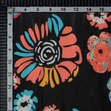 Black Floral Digital Print Premium Organza Fabric