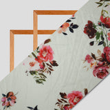 Cream Floral Digital Print Premium Organza Fabric