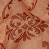 Pastel Orange Floral Digital Print Premium Organza Fabric - Fabcurate