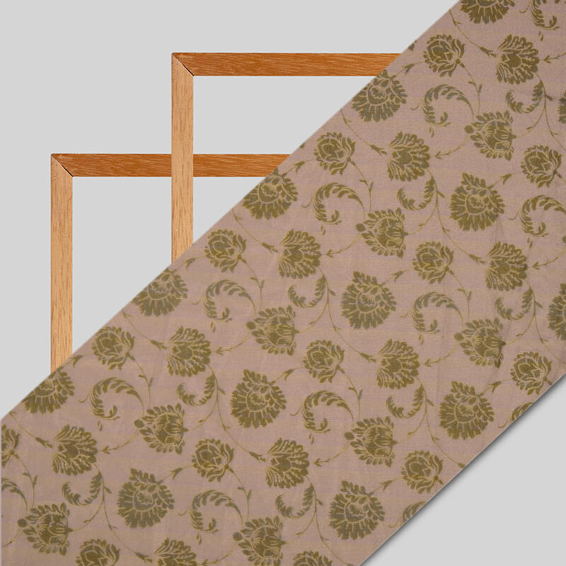 Olive Ethnic Digital Print Premium Organza Fabric - Fabcurate