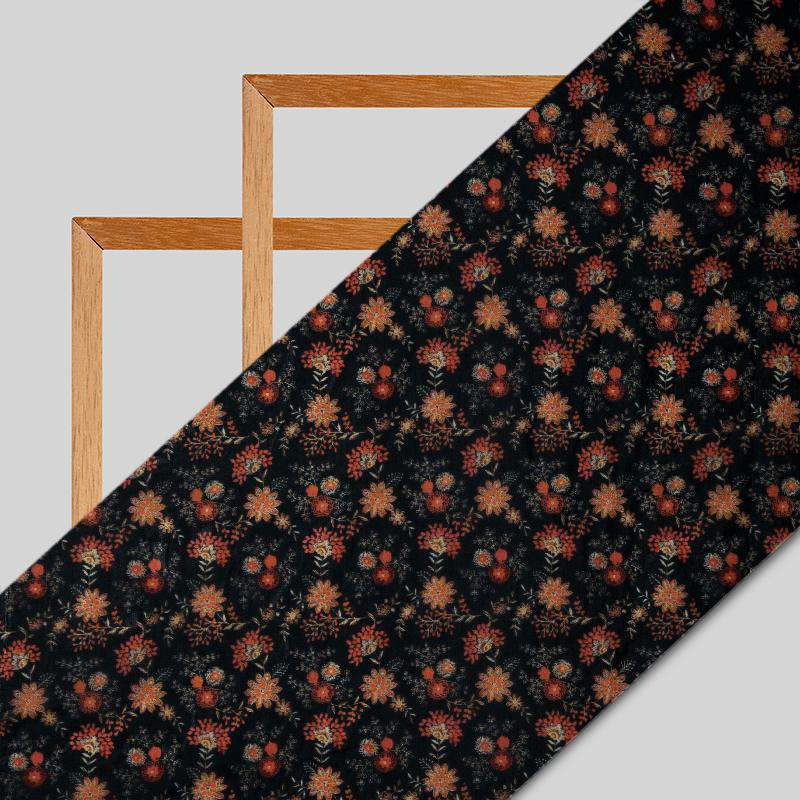 Black And Red Floral Digital Print Premium Organza Fabric