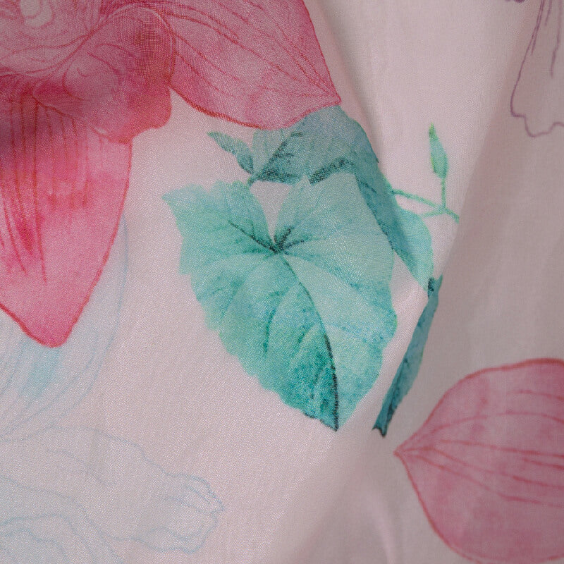 Light Pink Floral Digital Print Premium Organza Fabric - Fabcurate