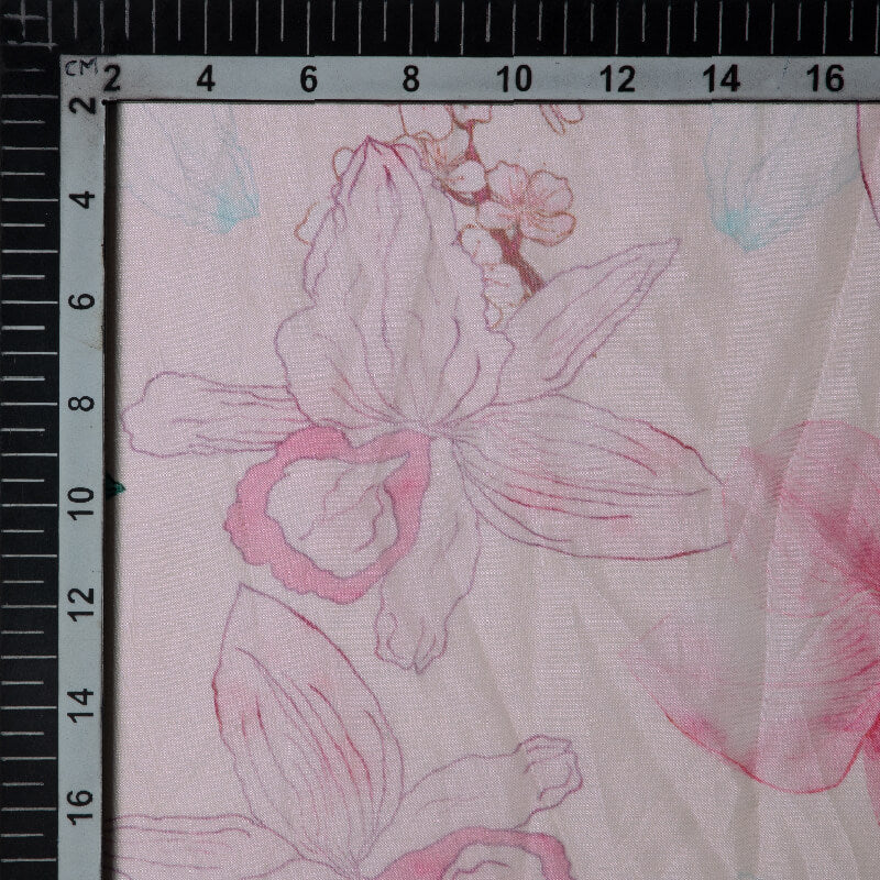 Light Pink Floral Digital Print Premium Organza Fabric
