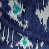 Blue Ikat Pattern Digital Print Rayon Fabric