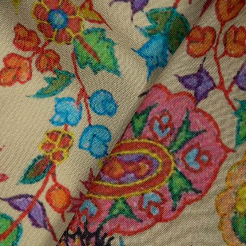 Multicolor Paisely Digital Print Rayon Fabric - Fabcurate