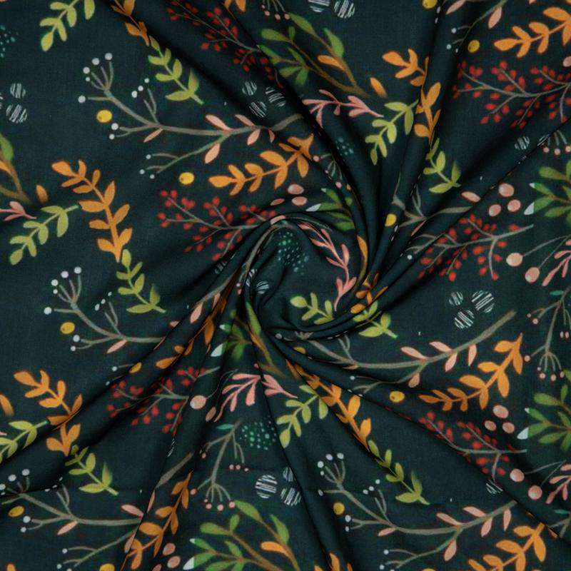 Bottle Green Leaf Digital Print Rayon Fabric - Fabcurate