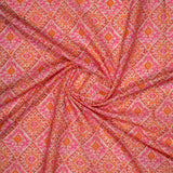 Pink Ikat Pattern Digital Print Rayon Fabric