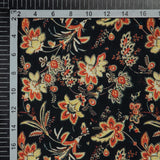 Black And Orange Floral Digital Print Rayon Fabric