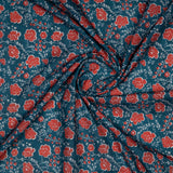 Red Floral Digital Print Rayon Fabric