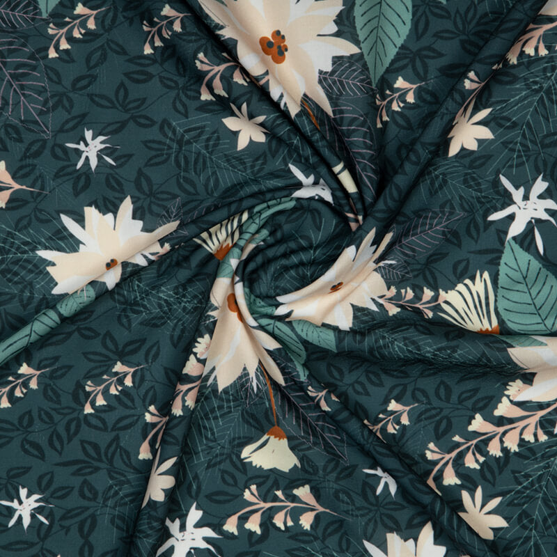 Dark Grey Floral Digital Print Rayon Fabric - Fabcurate