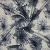 Light Grey Floral Digital Print Rayon Fabric