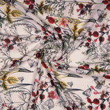 Off White Floral Digital Print Rayon Fabric