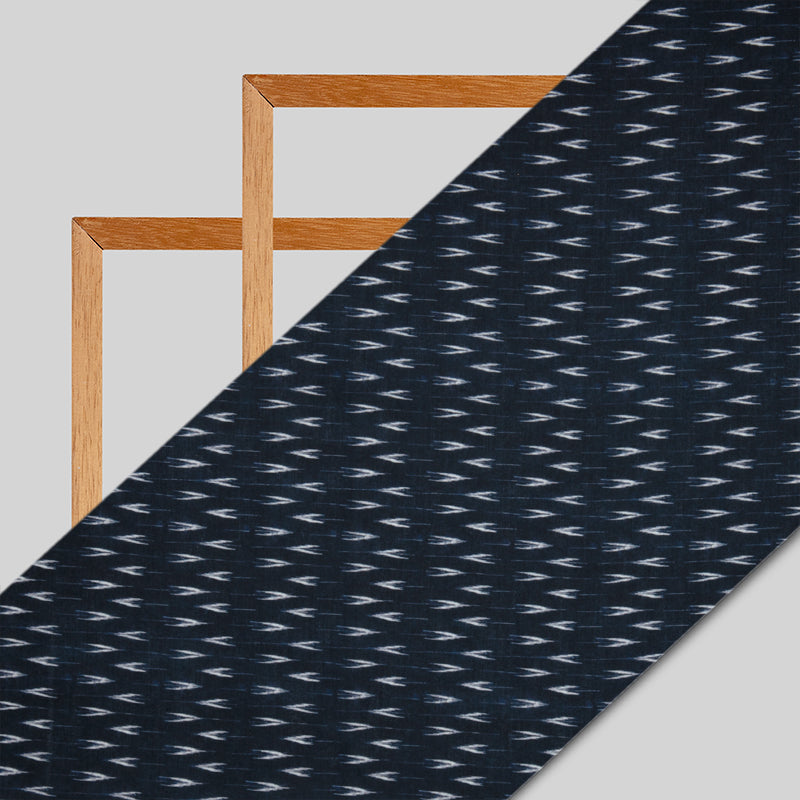 Navy Blue Ikat Pattern Digital Print Rayon Fabric - Fabcurate