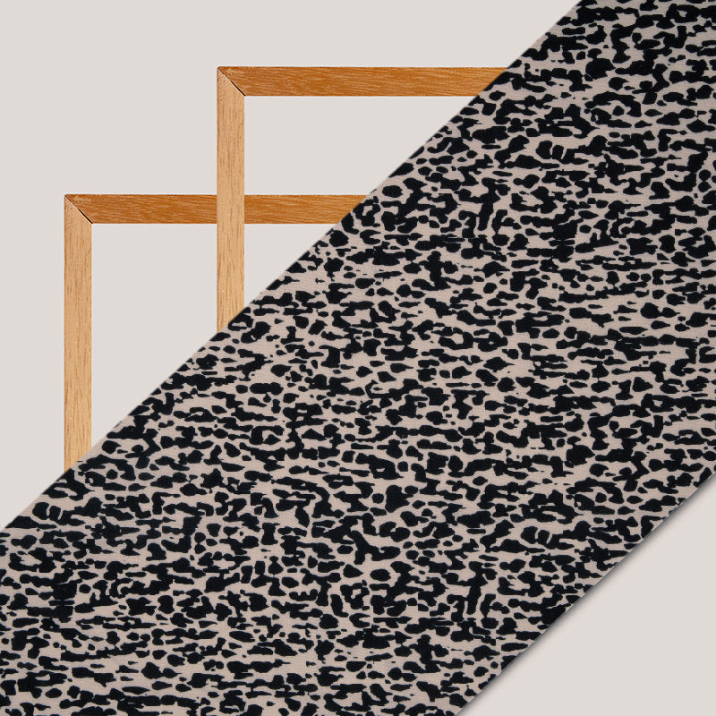 Black And Beige Animal Digital Print Rayon Fabric