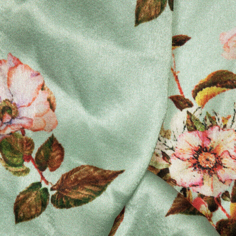 Pool Blue And Pink Floral Digital Print Japan Satin Fabric