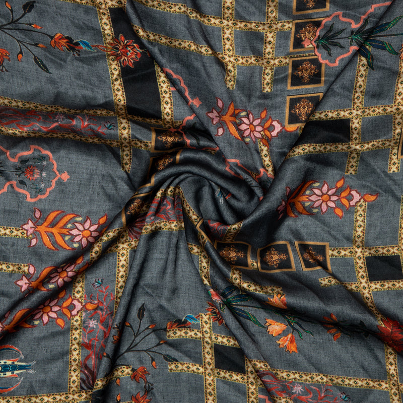 Grey Ethnic Digital Print Japan Satin Fabric