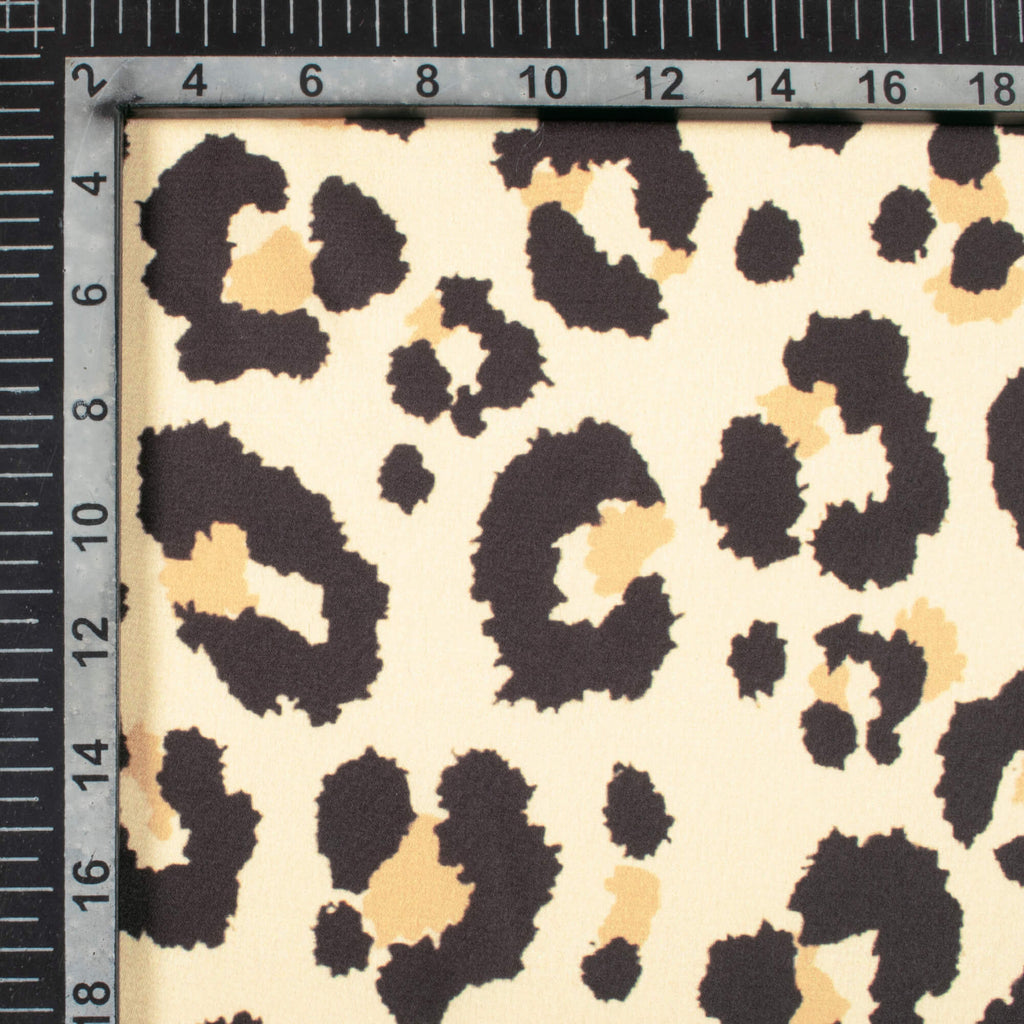 Black And Beige Animal Digital Print Japan Satin Fabric