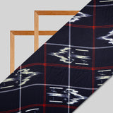 Blue And Red Ikat Pattern Digital Print Japan Satin Fabric