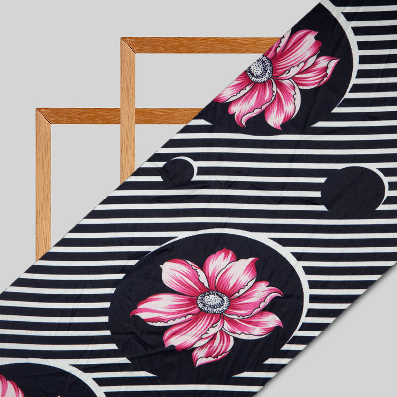 Black And Pink Stripes Digital Print Japan Satin Fabric