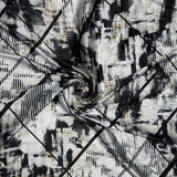 White And Black Abstract Digital Print Japan Satin Fabric - Fabcurate