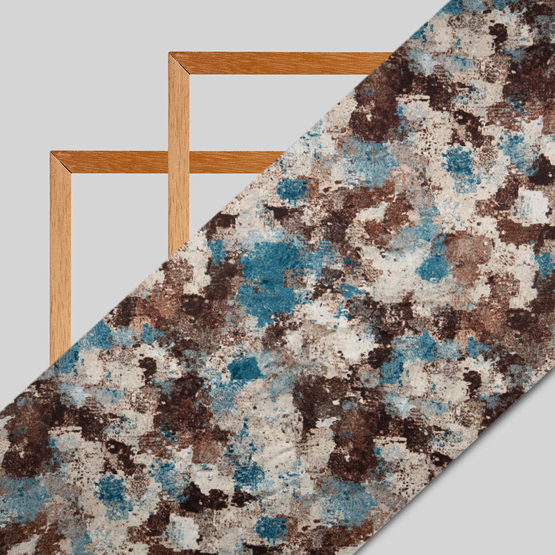 Brown Abstract Digital Print Japan Satin Fabric - Fabcurate