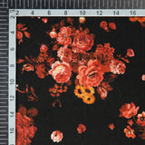 Black Floral Digital Print Crepe Silk Fabric