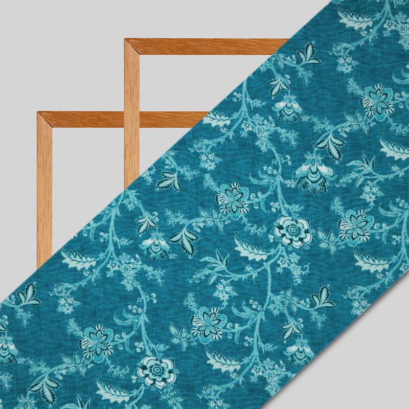 Pastel Blue Floral Digital Print Crepe Silk Fabric