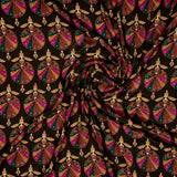 Brown Ethnic Digital Print Crepe Silk Fabric