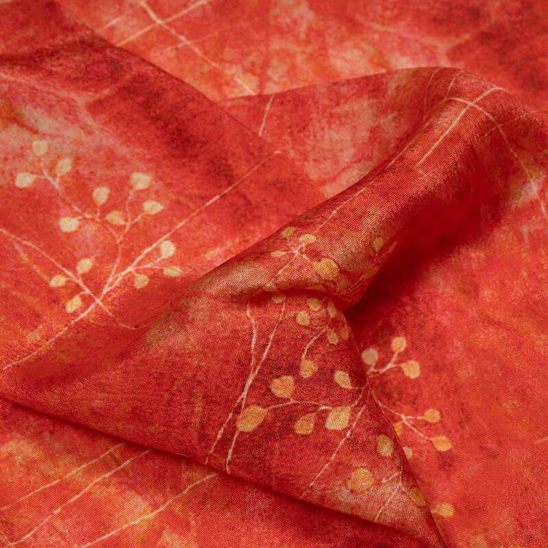 Red Floral Digital Print Crepe Silk Fabric - Fabcurate