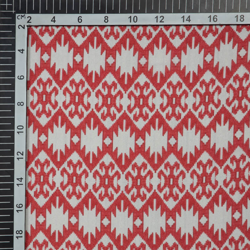 Red And Off White Ethnic Digital Print Crepe Silk Fabric