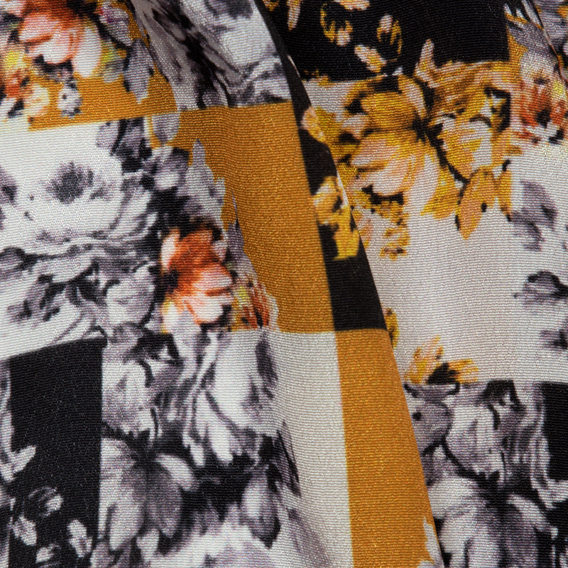 Dark Grey Floral Digital Print Crepe Silk Fabric