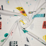 White Object Digital Print Crepe Silk Fabric - Fabcurate