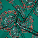 Turquoise Ethnic Digital Print Crepe Silk Fabric