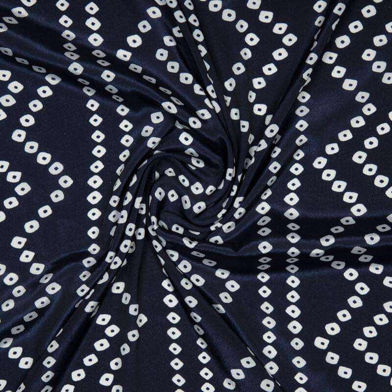 Navy Blue Bandhani Pattern Digital Print Crepe Silk Fabric