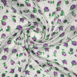 White Floral Digital Print Gerogette Satin Fabric
