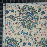Cream Leaf Digital Print Gerogette Satin Fabric