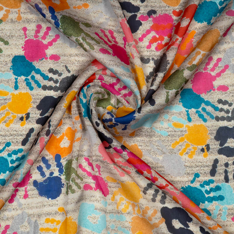 Multicolor Object Digital Print Georgette Satin Fabric