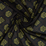 Dark Brown Ethnic Digital Print Georgette Satin Fabric