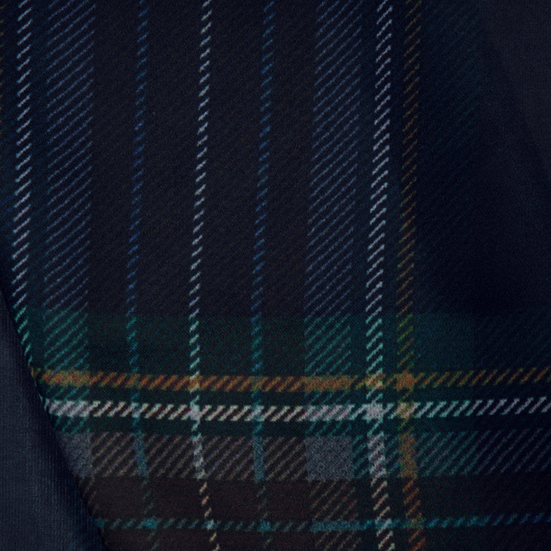 Navy Blue Checks Digital Print Georgette Satin Fabric