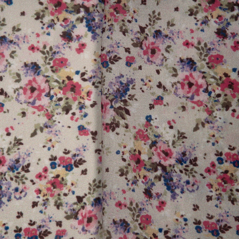 Beige Floral Digital Print Georgette Satin Fabric - Fabcurate