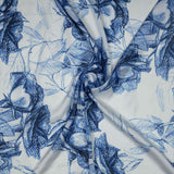 Royal Blue Floral Digital Print Georgette Satin Fabric