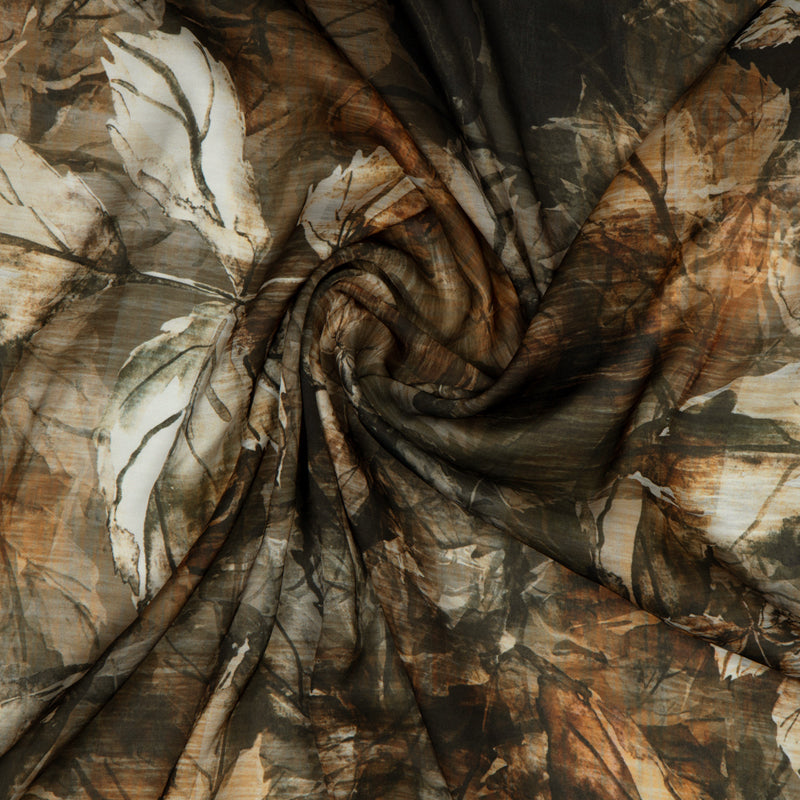 Brown Leaf Digital Print Georgette Satin Fabric