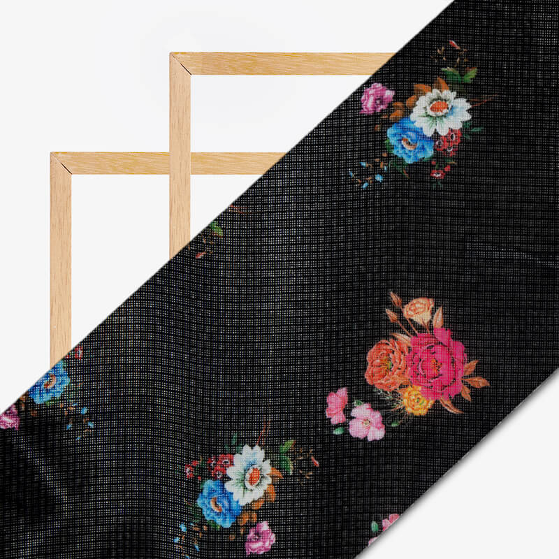 Black Floral Pattern Digital Print Kota Doria Fabric