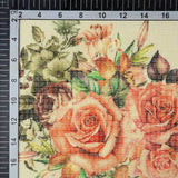 Peach Floral Pattern Digital Print Kota Doria Fabric