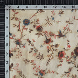 Off White Floral Digital Print Premium Organza Fabric